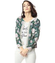 chaqueta lisboa verde flores