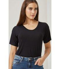 amaro feminino blusa básica u, preto