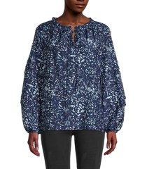 nicole miller women's garden-print peasant blouse - navy white - size xs
