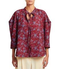 bloemenprint tie kraag blouse