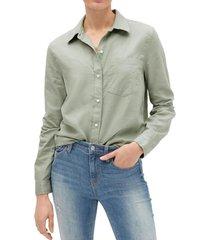 blusa de lino mujer verde gap