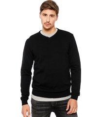 sweater jack & jones básico cuello v negro - calce regular