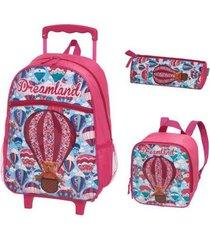 kit mochila com rodinhas dreamland com lancheira e estojo