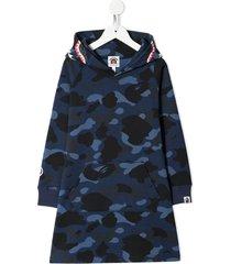 a bathing ape® camo shark hooded dress - blue