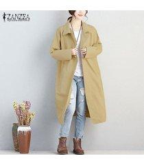zanzea mujer de manga larga abajo de los botones de gran tamaño chaqueta de la capa outwear cardigan plus caqui -beige