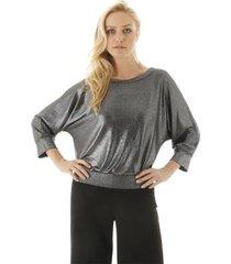 blusa manga longa metalizado com decote arredondando aha feminina - feminino