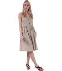 brave soul button through strappy midi dress size 14 in cream