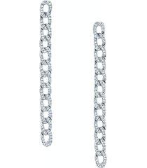 diamond chain link earrings white gold