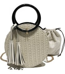 women travel small round straw borsa shoulder borsa simple chain messenger borsa