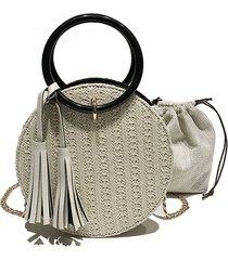 women travel small round straw borsa shoulder borsa simple chain messenger borsa