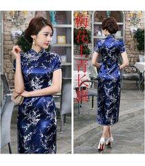 traditional chinese women's silk satin long dress cheongsam qipao sz s-6xl