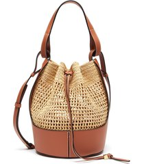 'paula's ibiza balloon' leather frame raffia crossbody bag