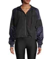 alala women's colorblock tech jacket - black navy - size xs