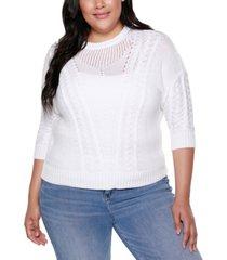 belldini black label plus size 3/4 sleeve pullover