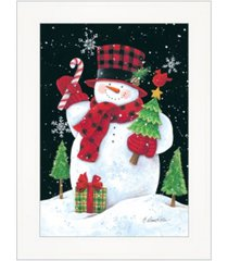 "trendy decor 4u plaid top hat snowman by diane kater, ready to hang framed print, white frame with iron easel, 11"" x 16"""