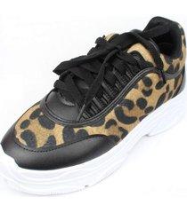 tênis menina de marte dad sneaker preto e onça - kanui