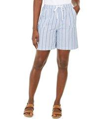 karen scott petite cotton striped shorts, created for macy's