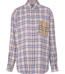 burberry vintage check panel voile shirt - blue