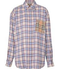 burberry vintage check panel voile shirt - blue