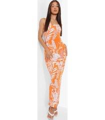 tall tropische maxi jurk met lage ronde hals, orange