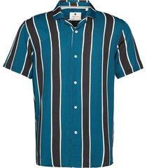 akleo ss viscose stripe kortärmad skjorta blå anerkjendt