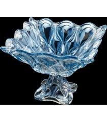 centro de mesa cristal com pé azul 28x22cm – linha safir