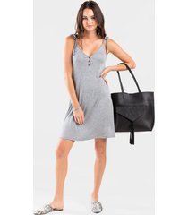 leah ribbed knit dress - heather gray
