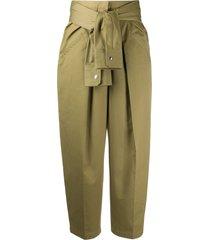 alexander wang tie-waist wide leg trousers - green