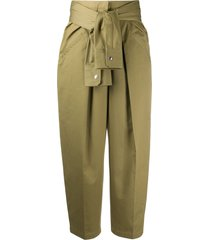 alexander wang tie-waist wide leg trousers - green