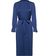 satin stretch - raya fs dress jurk knielengte blauw sand