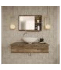 conjunto para banheiro bancada com cuba r35 redonda e espelheira city 801 carvalho dark