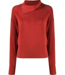 kenzo asymmetric-collar knitted top - red