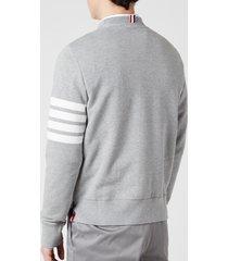 thom browne men's engineered 4-bar stripe loopback sweatshirt - light grey - 2/m