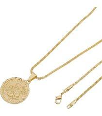 kit medalha são jorge tudo joias com corrente rede folheada a ouro 18k