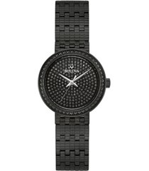 bulova women's phantom black stainless steel bracelet watch 28mm, created for macy's
