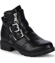 girl's buckled mid-calf booties