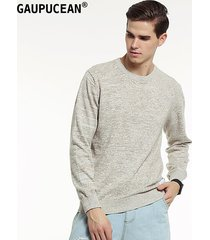 suéteres manga larga algodón gaupucean para hombre-caqui