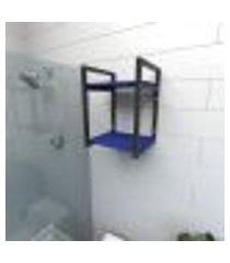 prateleira industrial para banheiro aço preto prateleiras 30cm azul escuro modelo ind24azb