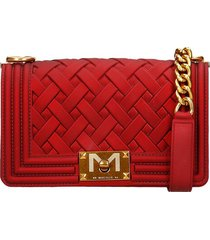 marc ellis flat s braid shoulder bag in red pvc
