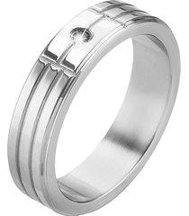 anello in acciaio e cristallo nero per uomo