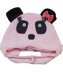enxoval baby ano zero touca panda rosa - rosa - menina - dafiti