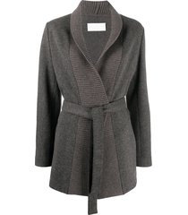 fabiana filippi woven herringbone belted cardigan - brown