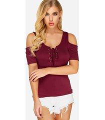 burgundy cold shoulder lace-up t-shirt