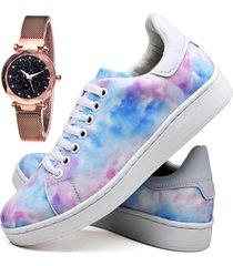 tênis sapatênis fashion tie dye com relógio gold feminino dubuy 734el colorido