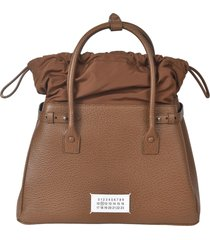 maison margiela logo patched grained leather tote