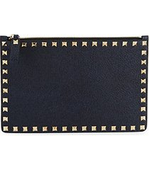 rockstud pebbled leather pouch