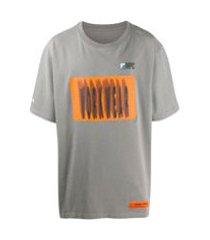 heron preston camiseta com estampa de slogan - cinza