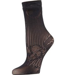 natori plume lace net crew socks, women's, black natori