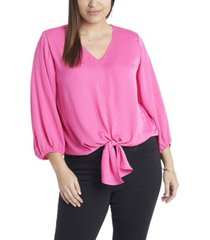 plus size long sleeve tie front v-neck blouse