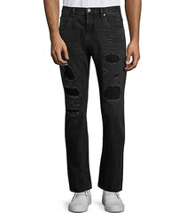 destroyed patch straight jeans